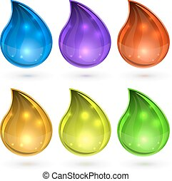 Colorful drops set vector template isolated on white background.