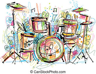 This Drumset Vector Image was digital created. No opening paths and only one Layer. No Gradients.