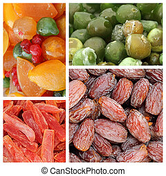 colorful dry and candy fruit collage