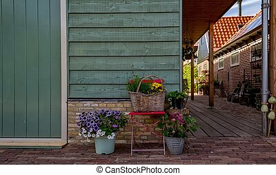 colorful dutch house on a clear and bright day in the...