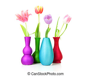 Colorful Dutch tulips in vases