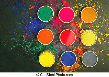 Indian Holi festival colours with copy space