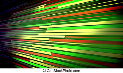 """""""A cheery 3d rendering of horizontal multicolored blinds placed askew shaking slowly and changing the colors of lines. They vary fom salad to blue, red and orange. The blinds look jolly."""""""