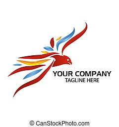 Colorful Eagle logo, Vector Illustration on white background