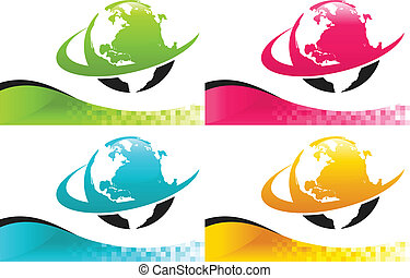 Colorful Earth Icons with Banners
