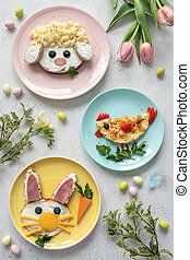 Colorful Easter breakfast for kids