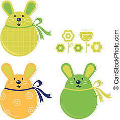 Colorful easter bunny stickers set