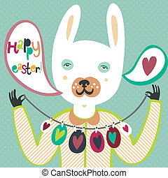 Colorful Easter card with bunny and eggs