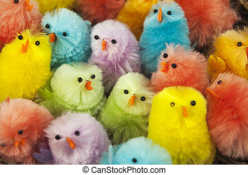 Colorful easter chickens