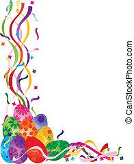 Colorful Easter Day Eggs in Confetti Border Illustration
