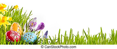 Colorful Easter egg banner with spring flowers - Colorful...