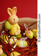 Colorful Easter eggs and a bunny