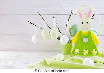 Colorful easter eggs and bunny