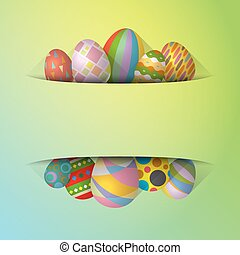 Colorful Easter eggs banner