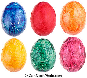 Colorful Easter Eggs, completely isolated on white background