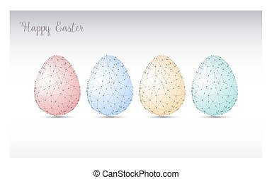 Colorful Easter eggs greeting. Polygonal vector design, low...