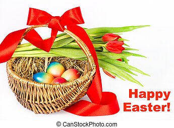 colorful easter eggs in brown basket with red ribbon
