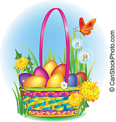 Colorful Easter Eggs in wicker bask