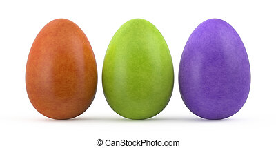 colorful easter eggs isolated on white background