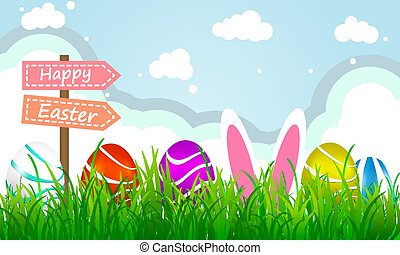 Colorful easter eggs on background with grass and clouds