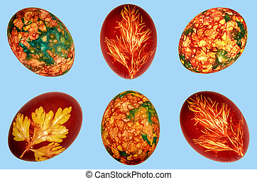 Colorful easter eggs on blue background