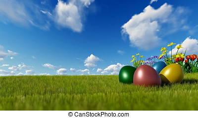 Colorful Easter eggs on green meadow over blue timelapse sky
