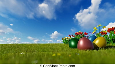 Colorful Easter eggs on green meadow with spring flowers over blue sky