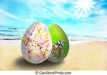 Colorful easter eggs on sunny beach