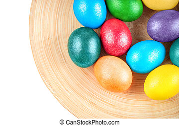 colorful Easter eggs on the plate