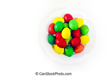 Colorful Easter eggs on white background.