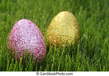 Colorful Easter Eggs Still Life With Natural Light