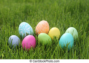 Colorful Easter Eggs Still Life With Natural Light - Easter...
