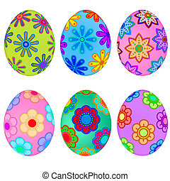 Colorful Easter Eggs with Floral Design