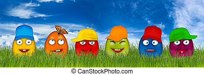 colorful easter eggs with funny faces