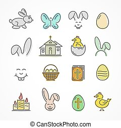 Colorful Easter icons