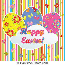 Colorful easter postcard