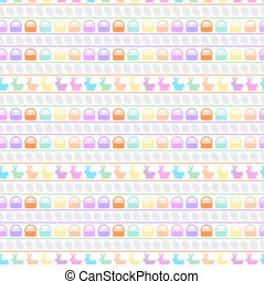 Colorful Easter Repeatable Seamless Pattern of Rabbits, Eggs and Baskets