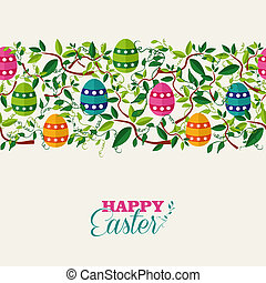 Colorful Easter seamless pattern banner