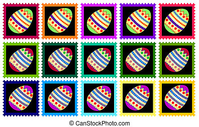 COLORFUL EASTER STAMPS