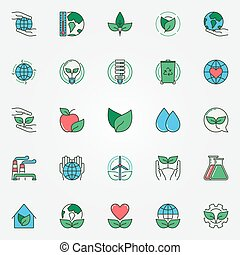 Colorful eco icons set