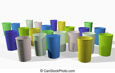 3d rendering of different color paper cups on white background