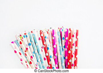 Colorful ecological plastic free paper straw with hearts
