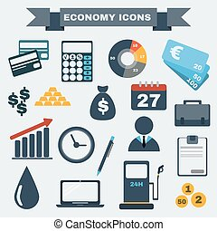 Colorful  Economy icon set