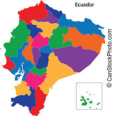Colorful Ecuador map