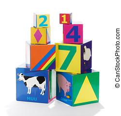 Colorful educational childrens building blocks