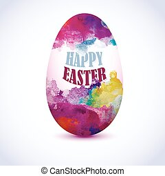 Colorful Egg with watercolor effect for greeting card with 'Happy Easter' text. Artistic splashes.
