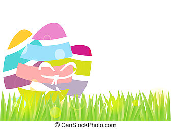 Colorful eggs on grass Easter background.