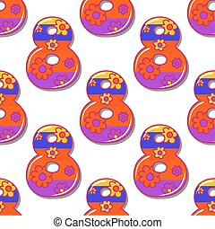 Colorful eight number seamless pattern