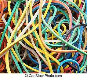 Colorful elastic bands close up