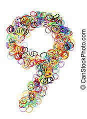 Colorful elastic rubber bands shape Number Nine - Colorful ...